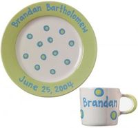 Sweet Pea Green Baby Dot Plate and Cup Set