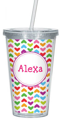 Lined Hearts Clear Acrylic Tumbler