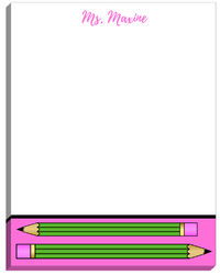 Bright Pink Pencil Large Notepad