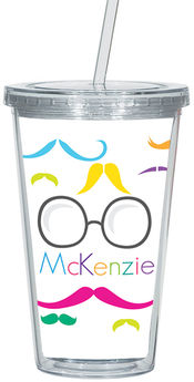 Bright Moustaches Clear Acrylic Tumbler
