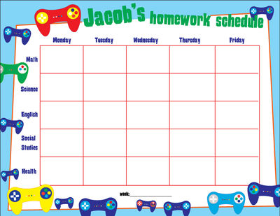 Game Control Personalized Calendar Pad  Kids Schedule Pad