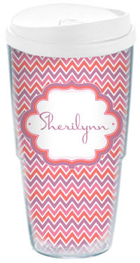 Pink Chevron Acrylic Travel Cup