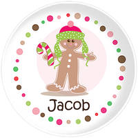 Gingerbread Dots Boy Plate