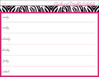 Hot Pink Zebra Weekly Calendar