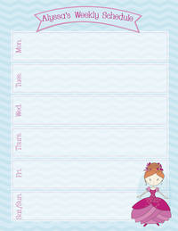 Flower Princess Weekly Calendar