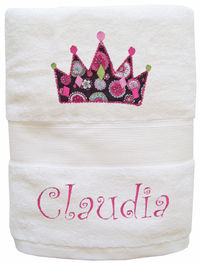 Crown Embroidered and Applique Towel