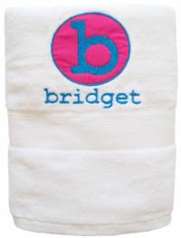 Initial Circle Hot Pink Embroidered and Applique Towel