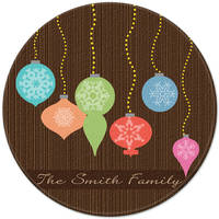 Bright Ornaments Round Glass Cutting Board