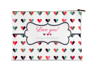Colored Hearts Small Accessory Flat Pouch