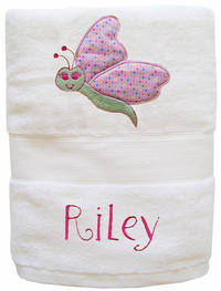 Butterfly Embroidered and Applique Towel