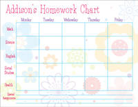 Flower Bunch Homework Chart