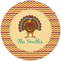 Adorable Turkey Round Glass Cutting Board