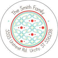 Abstract Floral Round Address Label
