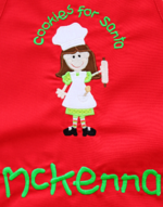 Santa Cookies Embroidered Apron