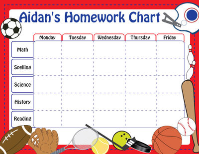Sports Personalized Calendar Pad  Kids Schedule Pad  Homework Chart