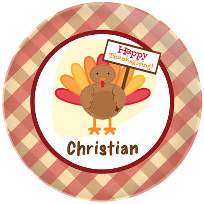 Turkey Day Plate  sc 1 st  Script and Scribble & Turkey Day Plate | Kids Melamine Plates | Thanksgiving Dinnerware ...