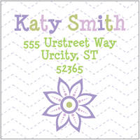 Lilac Flower Return Address Label