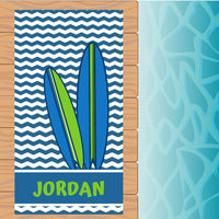 Blue Green Surfboards Beach Towel
