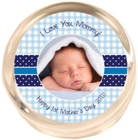 Blue Gingham Photo Paperweight PWR459