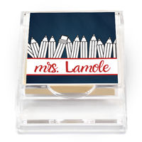 Black and White Pencils Sticky Note Holder