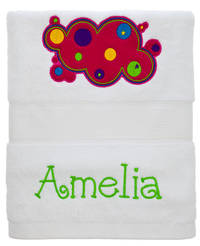 Bubbly Bubbles Embroidered and Applique Towel