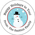 Jolly Snowman Round Gift Stickers