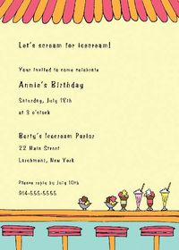 Icecream Parlor Invitation SSI08