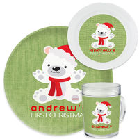 First Christmas Bear Green Dinnerware Set