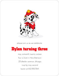 Firehouse Pet Birthday Invitation