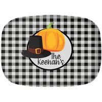 Black Gingham Pilgrim Hat Platter