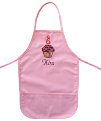 Cupcake Pink Embroidered Apron