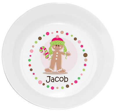 Gingerbread Dots Boy Bowl