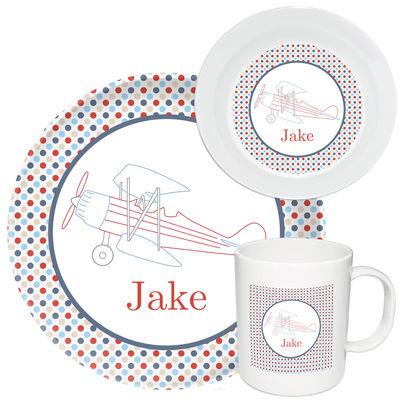 Airplane Melamine Set  sc 1 st  Script and Scribble & Airplane Melamine Set | Kids Dinnerware | Personalized Plastic Plates