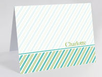 Green Teal Stripes Foldover Card