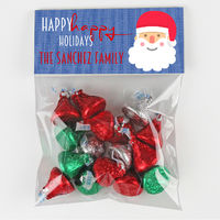 Happy Santa Blue Candy Bag Toppers