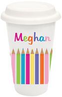 Color Pencils Covered Ceramic Tumbler