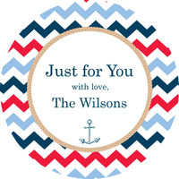 Anchored In Chevron Gift Stickers