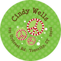 Candy Cane Peace Return Address Label
