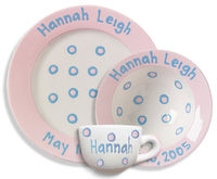 Blossom Pink Baby Dot Dinnerware  sc 1 st  Script and Scribble & Personalized Kids Ceramic Plates