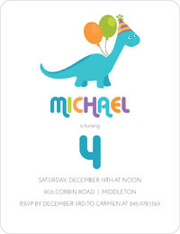 Blue Dino Birthday Invitation