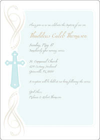 Cross Flourish Blue Card