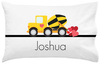 Construction Truck Valentine Pillowcase