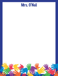 Bright Handprints I Large Notepad