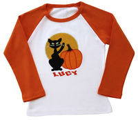 Cat and Pumpkin Embroidered Ringer Shirt
