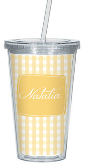 Golden Gingham Clear Acrylic Tumbler