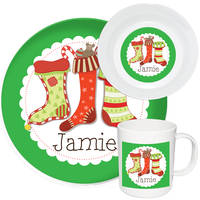 Holiday Stockings Melamine Set