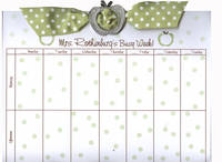 Green Apple Ribbon Slide Calendar Pad