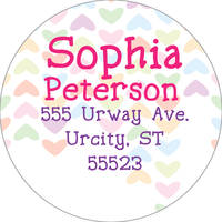 Lined Hearts Address Label