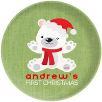 First Christmas Bear Green Plate