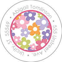 Mod Flower Burst Round Address Label